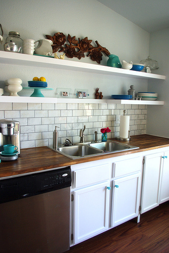 Open shelving in our kitchen