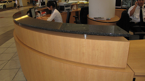 Commercial building desk counter tops installation