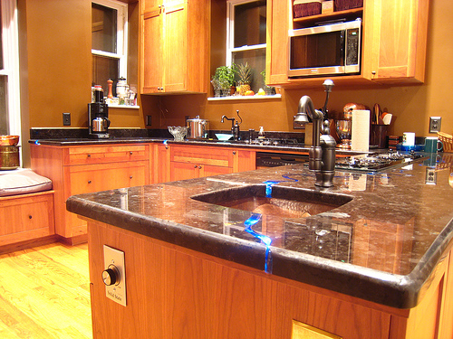 More pictures of the finished Gem River Countertop in our kitchen